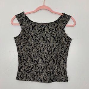Vintage   80's Cream Black Leaf Pattern Crop Top